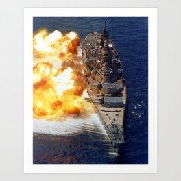 Battleship USS Iowa Broadside - 1984 Art Print