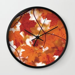 Fluttering from the Autumn tree Wall Clock