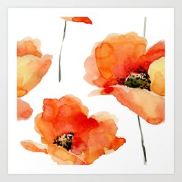 Modern hand painted orange watercolor poppies pattern Art Print