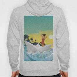 Girl in Boat Collage Hoody