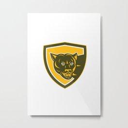 Puma Mountain Lion Head Prowl Shield Retro Metal Print