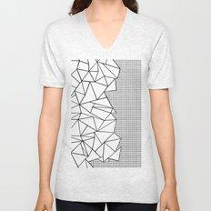 Abstraction Outline Grid on Side White Unisex V-Neck