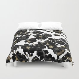 Modern Elegant Black White and Gold Floral Pattern Duvet Cover