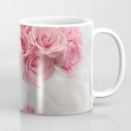 Pink Roses White Roses Shabby Chic Romantic Floral Home Decor Coffee Mug