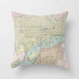 Vintage Map of Richmond VA (1901) Throw Pillow