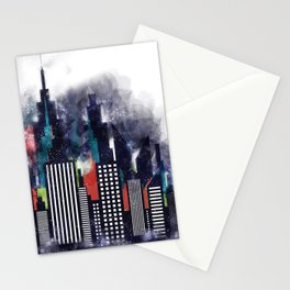 Colorful City Buildings And Skyscrapers In Watercolor, New York Skyline, Wall Art Poster Decor, NYC Stationery Cards