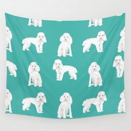 Toy poodle white poodles dog breed pet portrait pattern gifts pet friendly Wall Tapestry