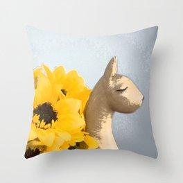 Sunflower Llama Throw Pillow