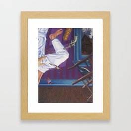 rope broke, used gun Framed Art Print