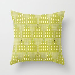 Art Deco Towers Chartreuse Throw Pillow