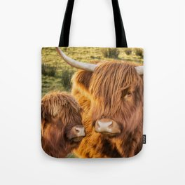 Mother and child. Highland Cows of Scotland....(heilan coo's) Tote Bag