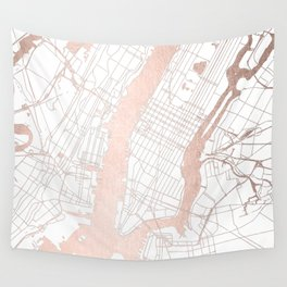 New York City White on Rosegold Street Map Wall Tapestry