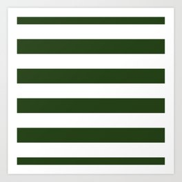 Large Dark Forest Green and White Cabana Tent Stripes Art Print