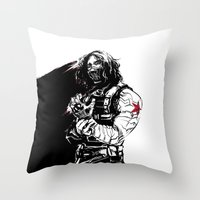 the winter soldier Throw Pillows featuring Winter Soldier by Irene Flores