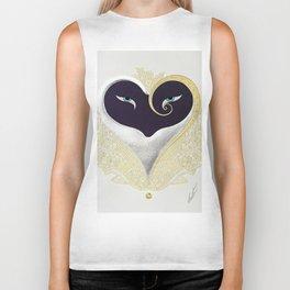 """Black & Gold Filigree Heart"" Design Biker Tank"