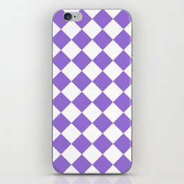Large Diamonds - White and Dark Pastel Purple iPhone Skin