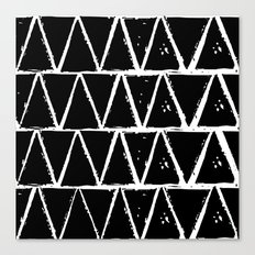Simple Geometric Zig Zag Pattern- White on Black -Mix & Match with Simplicity of life Canvas Print
