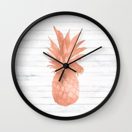 Rose Gold Pineapple on Wood Nautical Decor Wall Clock