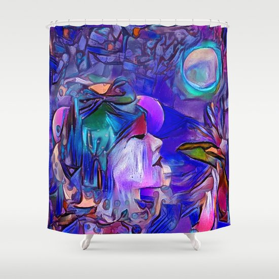 Blue Moon Shower Curtain by alexzondro