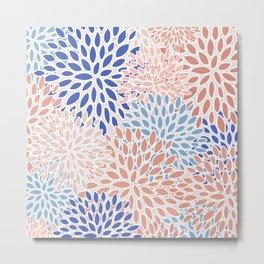 Flower Blooms, Pink, Orange, Blue, Modern, Floral Prints Metal Print