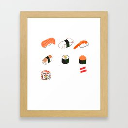 Perfect Tee For Sushi Lovers Illustration Different Kinds Of Sushi Roll Japanese Chopsticks T-shirt Framed Art Print