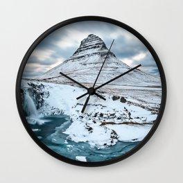 KIRKJUFELL MOUNTAIN & WATERFALL IN WINTER ICELAND LANDSCAPE Wall Clock