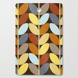 Retro 70s Color Palette Leaf Pattern Cutting Board