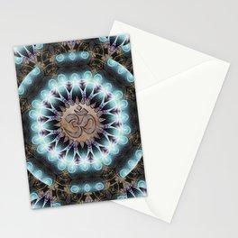 Om Shanti Fractal Geometry [ earthy aqua remix ] Stationery Cards