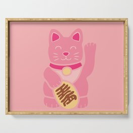 Lucky Cat in Pastel Pink Serving Tray