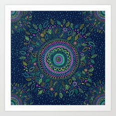 Midnight Garden Mandala Art Print