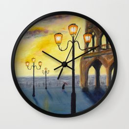 Lowry meets Venice, original painting, acrylics on board Wall Clock
