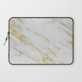 Marble - Shimmery Gold Marble on White Pattern Laptop Sleeve