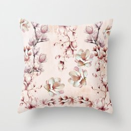 Watercolor Pink Magnolia Blossoms Throw Pillow