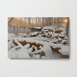 Winter Sunset Waterfall Metal Print