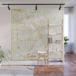 San Jose Map Gold Wall Mural