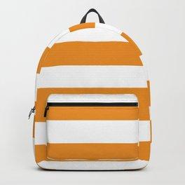 Carrot orange - solid color - white stripes pattern Backpack