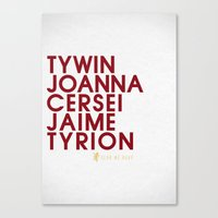lannister Canvas Prints featuring House Lannister 1 Typography series II by P3RF3KT