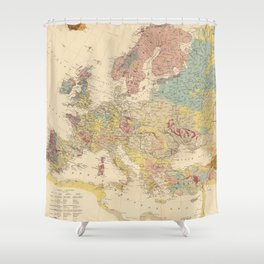Vintage Geological Map of Europe (1856) Shower Curtain