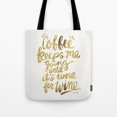 Coffee & Wine – Gold Tote Bag