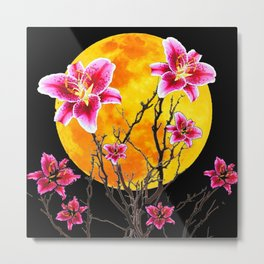 EXOTIC FUCHSIA STAR GAZER PINK LILIES MOON ART Metal Print