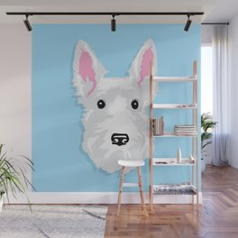 White Scottie Dog on Blue Background Wall Mural
