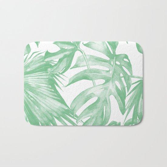 Tropics Palm Leaves Green on White Bath Mat