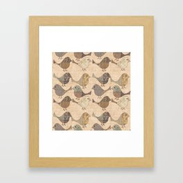 Nostalgic Autumn Patchwork Bird Pattern in warm retro colors #autumndecoration Framed Art Print