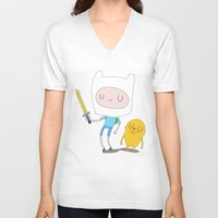 finn and jake V-neck T-shirts featuring Finn & Jake by Rod Perich