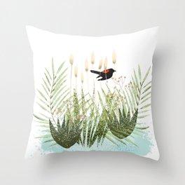 Red Winged Black Bird & Botanicals Throw Pillow