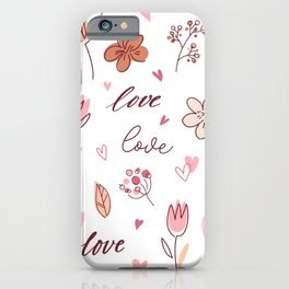 Love Pattern Floral Decoration Heart iPhone Case
