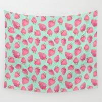 strawberry Wall Tapestries featuring Strawberry  by Marta Olga Klara