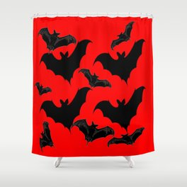 HALLOWEEN BATS ON BLOOD RED DESIGN Shower Curtain