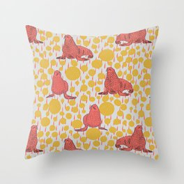 Seals - Coral on Yellow Throw Pillow