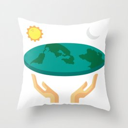 Flat Earth design Funny Flat Earther Society Gift Throw Pillow